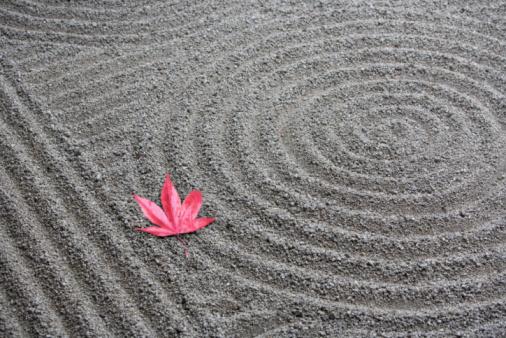 Japanese Maple「Japan, Kyoto, Red Japanese maple leaf on sand in Zen garden」:スマホ壁紙(3)