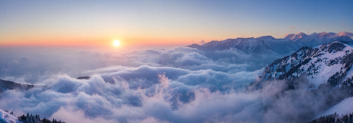 European Alps「Sunset Above The Fog」:スマホ壁紙(11)
