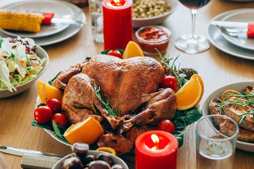 Stuffed Turkey「Close-up shot of roasted turkey on holiday dining table」:スマホ壁紙(8)