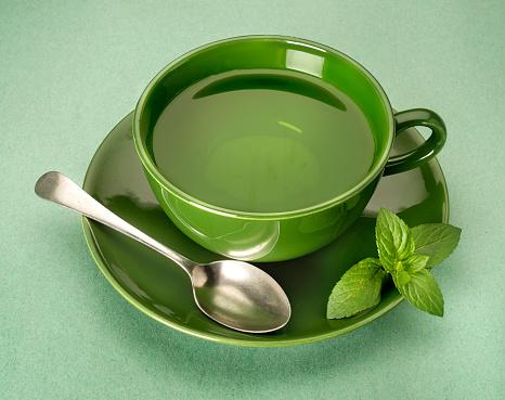 Mint Leaf - Culinary「green tea on green background」:スマホ壁紙(5)