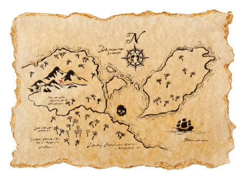 X Marks The Spot「Pirate Map to Buried Treasure, Isolated on White. Horizontal.」:スマホ壁紙(14)