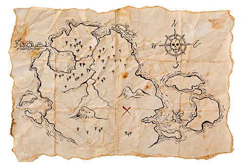 X Marks The Spot「Pirate Map to Buried Treasure, Isolated on White. Horizontal.」:スマホ壁紙(2)
