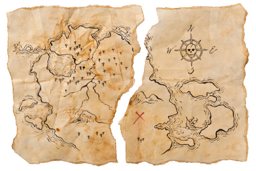 X Marks The Spot「Pirate Map to Buried Treasure, Torn in Half. Horizontal.」:スマホ壁紙(15)