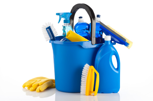 Bucket「Blue bucket full of cleaning products on white backdrop」:スマホ壁紙(13)