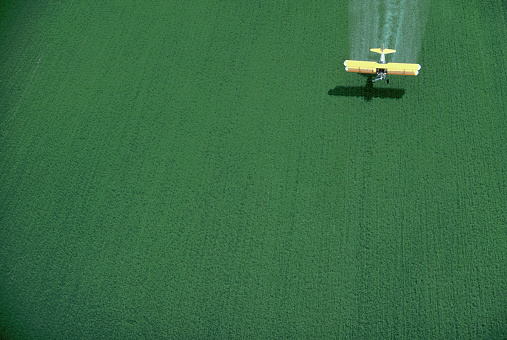 Insecticide「Crop-duster Spraying Green Wheat Field」:スマホ壁紙(2)