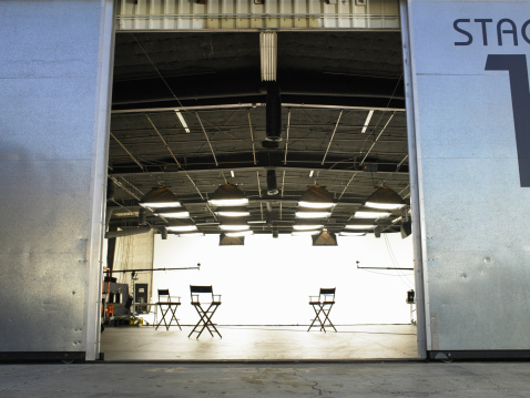 Part of a Series「Lighting equipment and folding chairs in film studio」:スマホ壁紙(10)