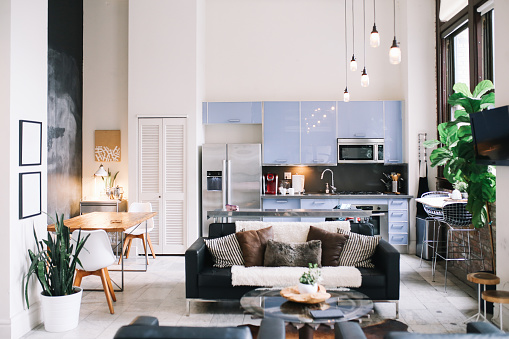 Kitchen「Cozy loft apartment interior in Downtown Los Angeles」:スマホ壁紙(4)