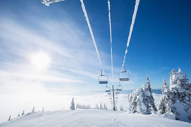 Ski lift at sunlight against blue ski:スマホ壁紙(壁紙.com)