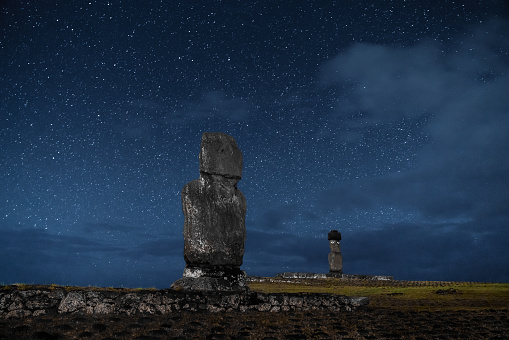 Spirituality「Easter Island Rapa Nui Tahai Moai under Stars at Night」:スマホ壁紙(1)