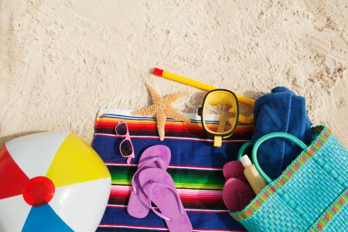星型「夏の休日のバカンスのビーチバッグで楽しい電源およびトーイ」:スマホ壁紙(5)