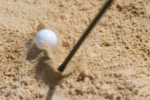 Northern Mariana Islands「Golf club hitting ball on sand, blurred motion, Saipan, USA 」:スマホ壁紙(2)