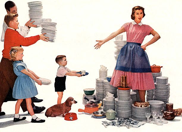 housewife overwhelmed by the dishes to wash up, picture for advertising for Lux washing liquid, published in american magazine 1956:ニュース(壁紙.com)