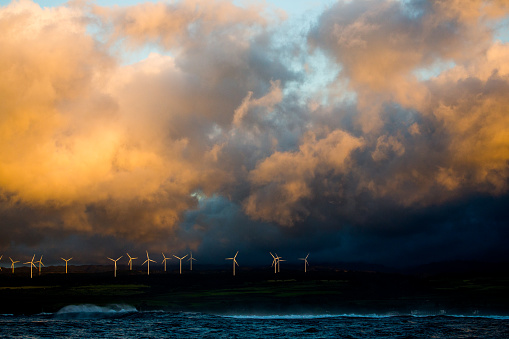 Hawaii Islands「Row of wind turbines on a hill, Oahu, Hawaii」:スマホ壁紙(1)
