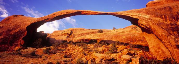 Landscape Arch「USA, Utah, Arches National Park, Landscape Arch at sunrise」:スマホ壁紙(9)