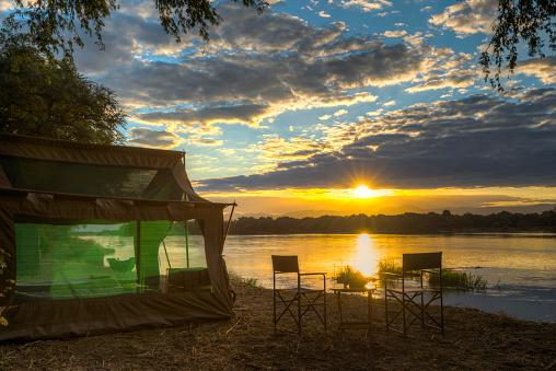 Camping Chair「Tent by river at sunset, Mana Pools National Park, Zimbabwe」:スマホ壁紙(12)