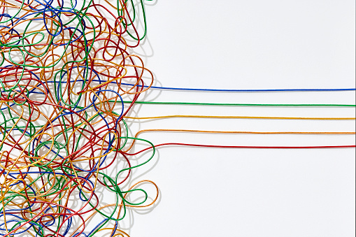 Problems「Jumble of multicoloured wires untangling into straight lines over a white background.」:スマホ壁紙(5)
