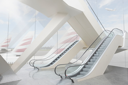 Escalator「Empty modern airport building」:スマホ壁紙(10)