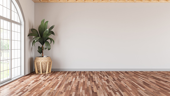 Parquet Floor「Empty Modern Living Room with White Wall and Plant」:スマホ壁紙(15)