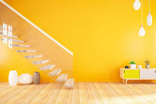 Indoors「Empty Modern Orange Interior with Stairs」:スマホ壁紙(12)