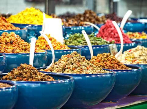Iran「Olives, vegetables and salad for sale at a market stall, Tehran, Iran」:スマホ壁紙(19)