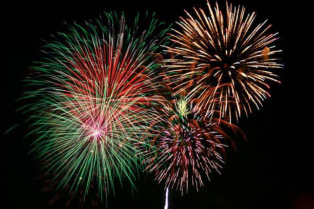 Multicolor firework show at night:スマホ壁紙(壁紙.com)
