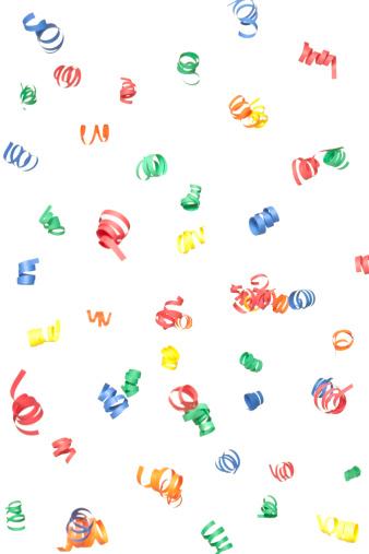Celebration「マルチカラーペーパーらせん落ちる紙吹雪、白で分離」:スマホ壁紙(7)