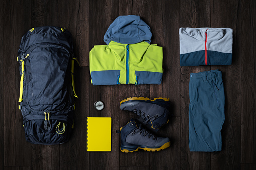 Hiking「Hiking equipment flat lay」:スマホ壁紙(0)