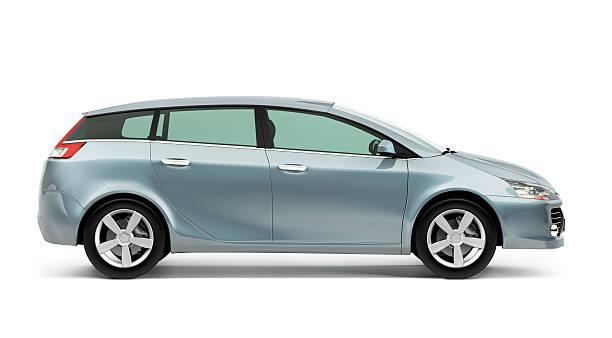 Side of silver modern compact car on a white background:スマホ壁紙(壁紙.com)