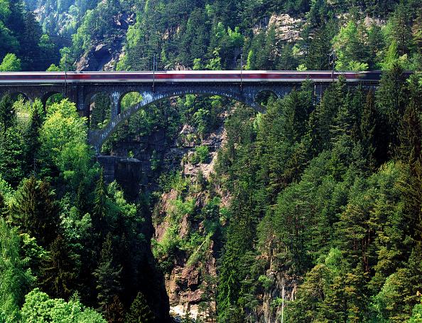 Passenger Train「Intercity train on Saint Gotthard railway track - bridge (near the village of Wassen) - Swiss Alps - canton of Uri - Switzerland」:写真・画像(9)[壁紙.com]