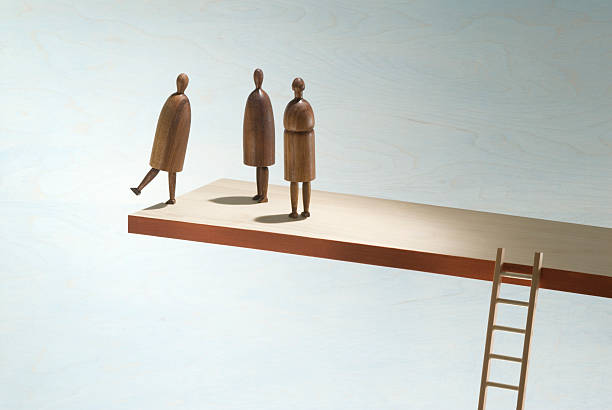 Wooden figures on the edge of a wooden shelf with ladder:スマホ壁紙(壁紙.com)
