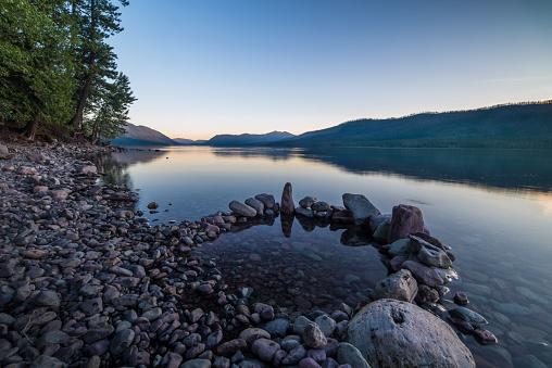 cloud「夕暮れ、グレーシャー国立公園の湖マクドナルド」:スマホ壁紙(4)