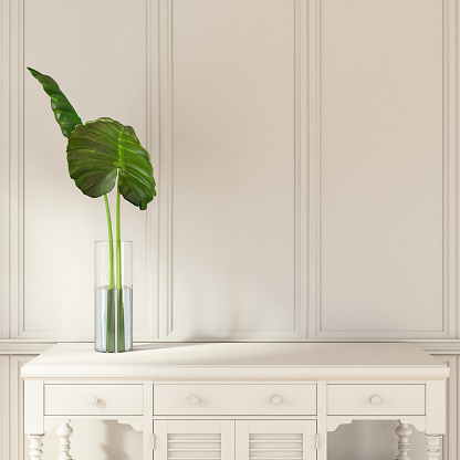 Flower Pot「Minimalistic White Wooden Interior with a Drawer Copy Space」:スマホ壁紙(8)