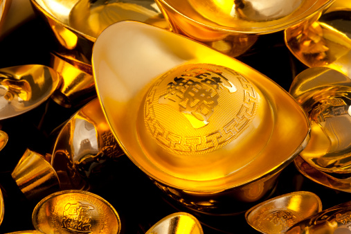 Better fortune「Precious Chinese traditional currency gold yuanbao ingots」:スマホ壁紙(2)