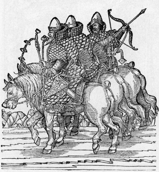Recreational Horseback Riding「Russian Warriors mounted on horseback with crossbows and wearing chain mail armour, c. 1557.」:写真・画像(0)[壁紙.com]