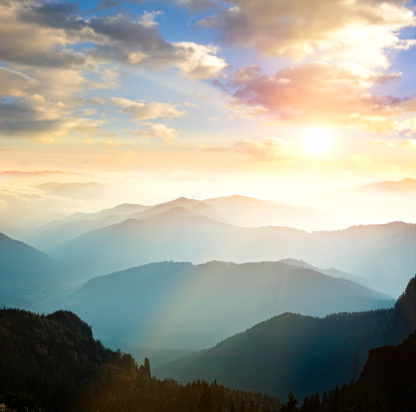 Landscape「山脈を背景に沈む夕日」:スマホ壁紙(8)