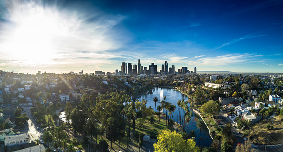 City Of Los Angeles「Echo Park, Los Angeles - Aerial Panorama」:スマホ壁紙(8)