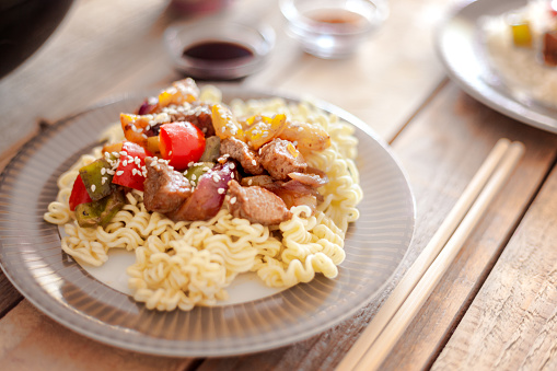 Basmati Rice「Sweet and sour pork with veggies and fruits, served with rice noodles」:スマホ壁紙(0)