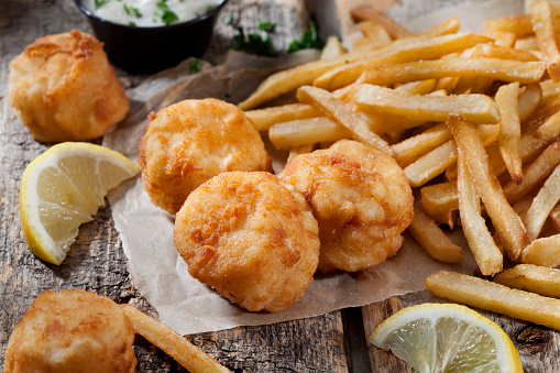 Poached Food「Deep Fried Sea Scallops with French Fries, Tartar Sauce and Lemon」:スマホ壁紙(7)
