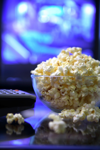 Remote Control「Movie night.Popcorn remote and television.」:スマホ壁紙(14)