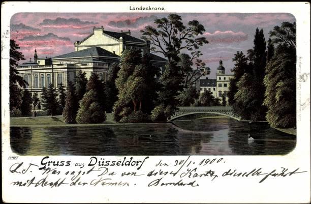 Litho Düsseldorf, Teichpartie an der Landeskrone, 1900:ニュース(壁紙.com)