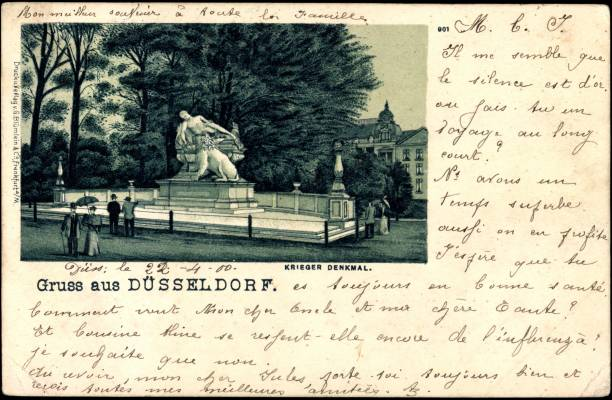 Litho Düsseldorf, Spaziergänger am Krieger Denkmal:ニュース(壁紙.com)