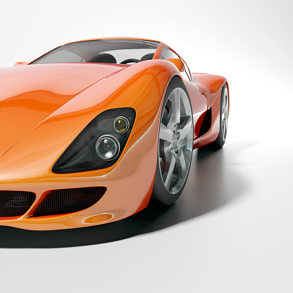 Orange Color「Orange sports car on white background」:スマホ壁紙(6)