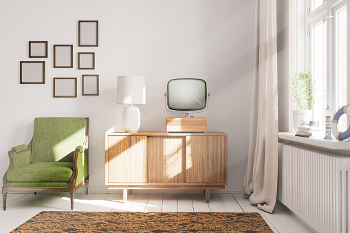 1960-1969「Vintage Living Room Interior」:スマホ壁紙(16)