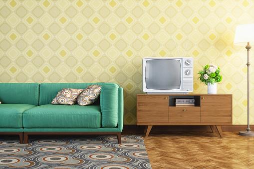 1960-1969「Vintage Living Room Interior」:スマホ壁紙(0)