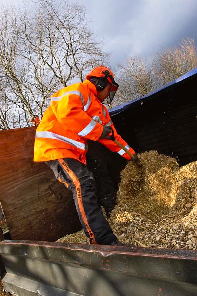Steve Wood「Tree surgeon spreading chipped timber」:写真・画像(4)[壁紙.com]
