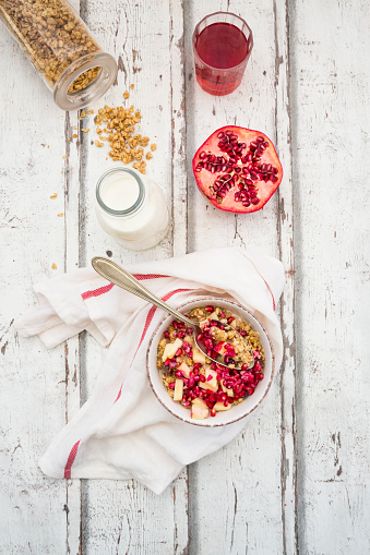 Pomegranate「Breakfast with fruit muesli with pomegranate seed, bottle of milk and glass of pomegranate juice」:スマホ壁紙(12)
