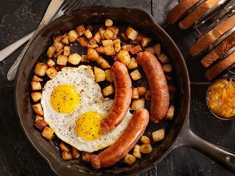 ベーコン「朝食、片面目玉焼き卵とソーセージ」:スマホ壁紙(17)