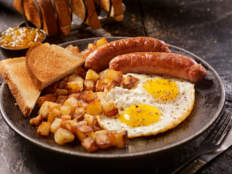 Tartan check「朝食、片面目玉焼き卵とソーセージ」:スマホ壁紙(17)