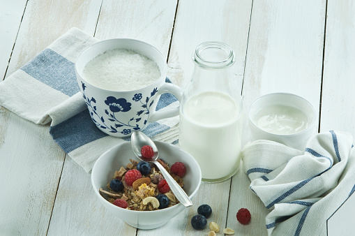 Granola「Breakfast with muesli and fruits, cappuchino and bottle of milk」:スマホ壁紙(17)