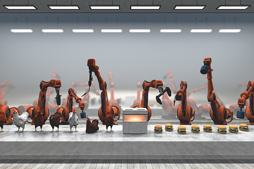 Chicken - Bird「Futuristic chicken burger food processing plant with robots」:スマホ壁紙(13)